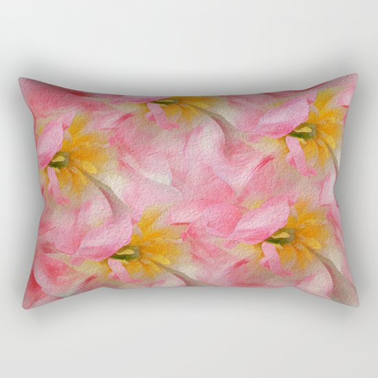 Fancy Painted Tulips Rectangular Pillow
