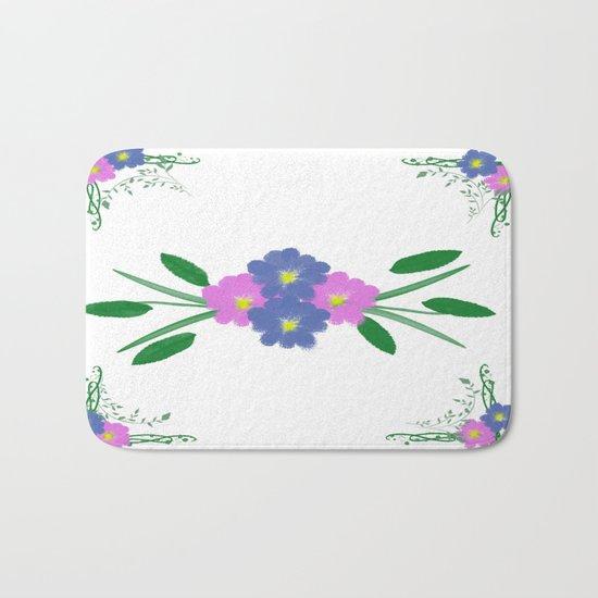 Painted Vintage Flowers Bath Mat