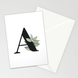 Letter A Initial Floral Monogram Black And White Poster Stationery Cards