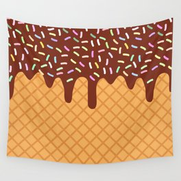 waffles with flowing chocolate sauce and sprinkles Wall Tapestry