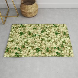 Victorian Style Real Green Buttercup Flowers Repeat Pattern Rug