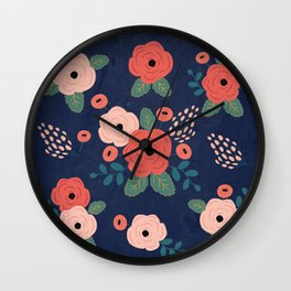 Flower Pattern, Pink Red Flowers on Blue, Vintage, Floral Wall Clock