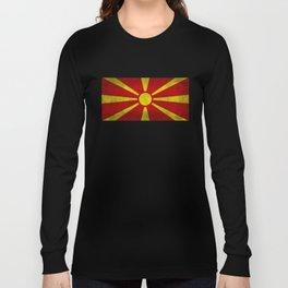 "Flag of Macedonia in ""Super Grunge"" Long Sleeve T-shirt"