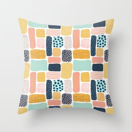 Abstract doodle shapes pattern Throw Pillow