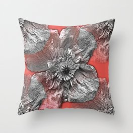 Greyscale transparent poppies on orange-pink-red background Throw Pillow