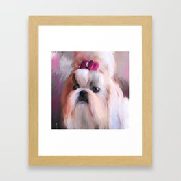 Little Girl Shih Tzu Framed Art Print