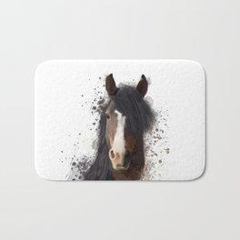 Black Brown Horse Artwork Bath Mat