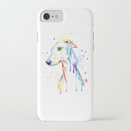 Greyhound Colorful Watercolor Pet Portrait Painting iPhone Case