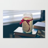 pride and prejudice Canvas Prints featuring Pride & Prejudice Mason Jar by {she tells stories}