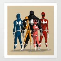 power rangers Art Prints featuring Power Rangers by MingjueChen