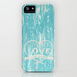 Maritime Design - Love is my anchor on teal grunge wood background iPhone Case