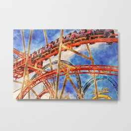 Fun on the roller coaster, close up Metal Print