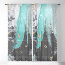 Fairy Dreams: an abstract mixed media piece in black, white, teal, and gold Sheer Curtain