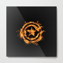 The Captain on Fire Metal Print
