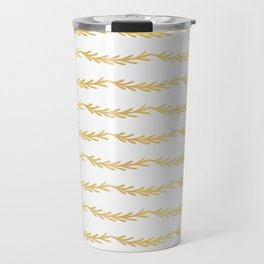 Luxe Gold Christmas Tree Branch Stripes Vector Pattern, Drawn Seamless Travel Mug
