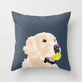 Golden Retriever with tennis ball Throw Pillow
