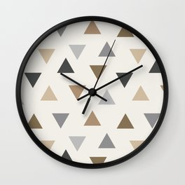 Abstract Triangle Pattern - Cream, Brown and Grey Colors Wall Clock