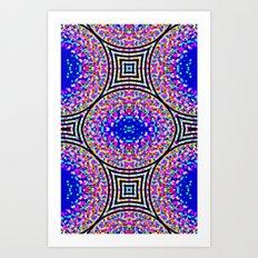 Blue Confetti Maze Art Print