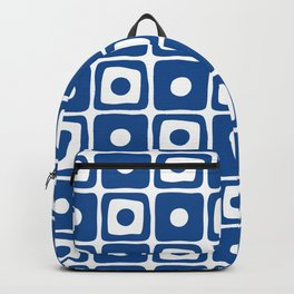 Mid Century Square Dot Pattern Blue Backpack
