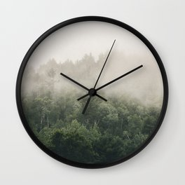 Forest Fog Photography | Woods | Misty | Mist | Forest Dew | Kaszuby Canada | Nature Photography Wall Clock