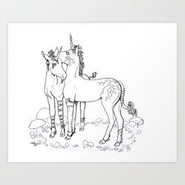 Unicorn Twins Art Print