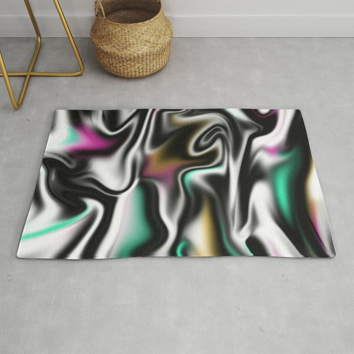 Psychedelic Liquid Abstract Paint In Black White Pink Turquoise Rug By Peladesign