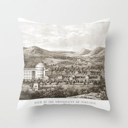 VIRGINIA University map CHARLOTTESVILLE dorm decor graduate Throw Pillow