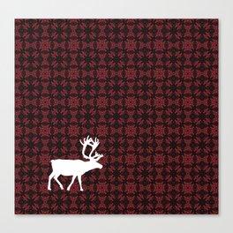 Caribou Cutout (Cranberry Harvest pattered version 2) Canvas Print