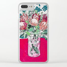 Bouquet of Proteas with Matisse Cutout Wallpaper Clear iPhone Case