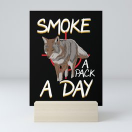Coyote Hunting Smoke A Pack A Day Jackal Wolf Hunter Gift Mini Art Print