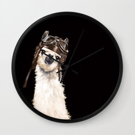 Cool Pilot Llama in Black Wall Clock