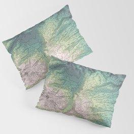 Mount Hood, Oregon Topographic Contour Map Pillow Sham