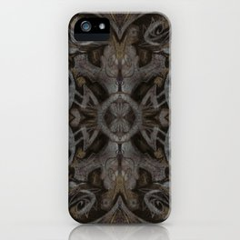 Curves & lotuses, black, brown and taupe iPhone Case