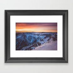 Sunset over the mountains Framed Art Print