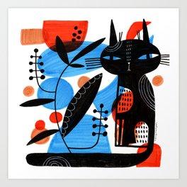 CAT WITH PLANT Art Print