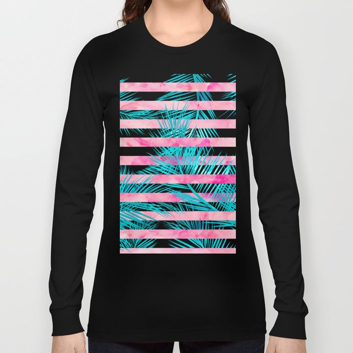Modern pink turquoise tropical palm tree watercolor stripes pattern Long Sleeve T-shirt
