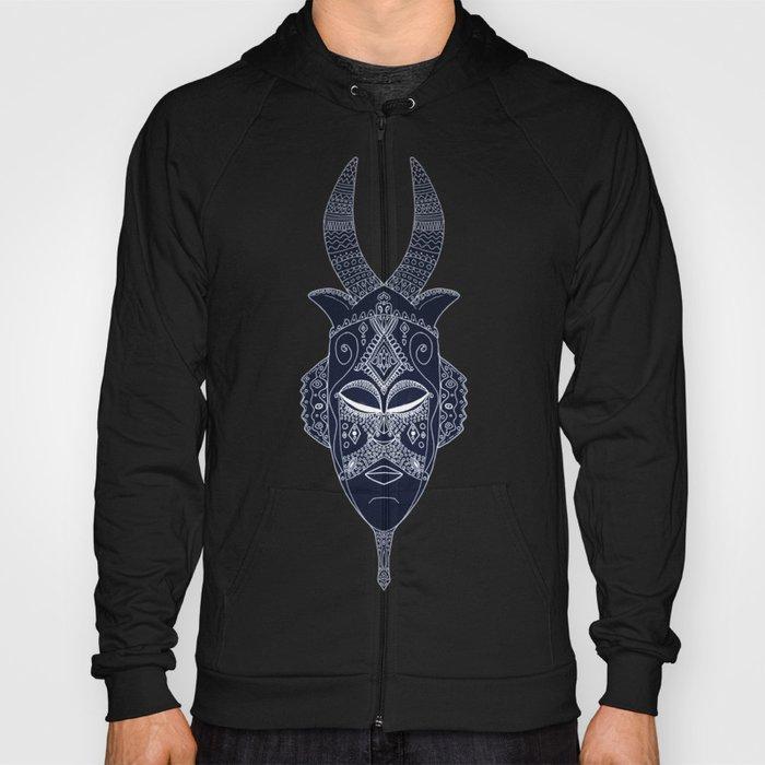 Horned Tribal Mask (color version) Hoody