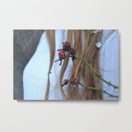 Red Berries - Girl Vintage Style Winter Photograoh Metal Print