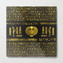 Golden Egyptian Scarab Ornament  on black leather Metal Print