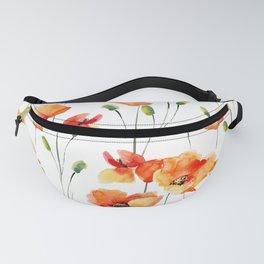 Hand Painted orange yellow watercolor poppies floral Fanny Pack