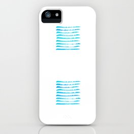 Turquoise blue stripes, hand painted rough texture iPhone Case
