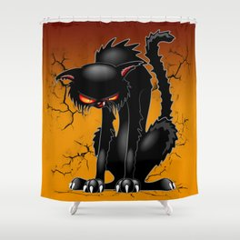 Black Cat Evil Angry Funny Character Shower Curtain