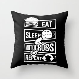 Eat Sleep Motocross Repeat - Motorcycle Motorsport Throw Pillow