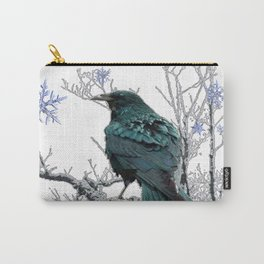 CROW/RAVEN IN WINTER TREE & SNOWFLAKES Carry-All Pouch