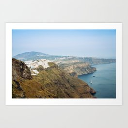 The beautiful white village of Fira, Santorini, Greece. Art Print