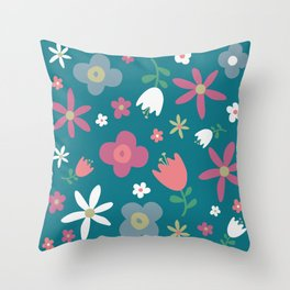Simply Flowers Floral Pattern on Green Throw Pillow