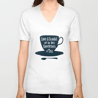 scandal V-neck T-shirts featuring Love & Scandal are the Best Sweeteners of Tea by andy fielding