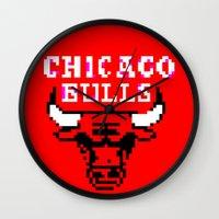 chicago bulls Wall Clocks featuring Bulls Bulls Bulls by Art by Ken