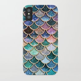 Multicolor Pink And aqua Mermaid Scales - Beautiful Abstract Glitter Pattern iPhone Case