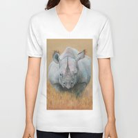 rhino V-neck T-shirts featuring RHINO by Canisart